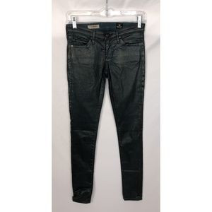 Adriano Goldschmied Green Coated Legging Jeans